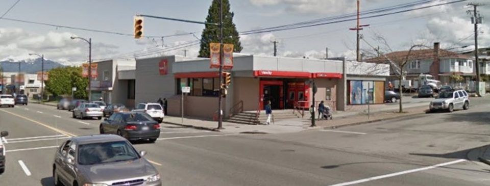 The 5590 Victoria Drive site is currently occupied by the vacated Vancity Credit Union community branch, which has temporarily moved to a site nearby