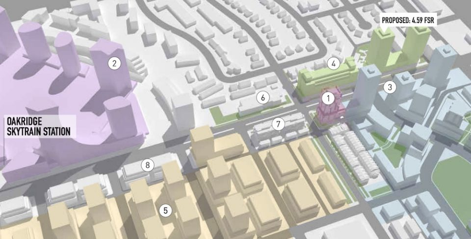 The development site is shown as 1 in the graphic, adjacent to the upcoming Oakridge Transit Centre redevelopment