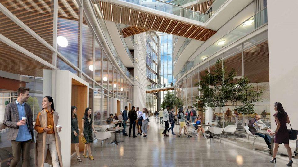 3D interior view indoor garden, looking to west