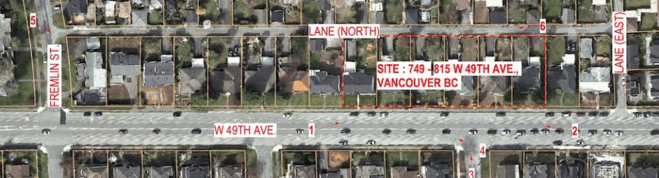 Development site of upcoming Bosa Properties townhouses on West 49th Avenue in Vancouver