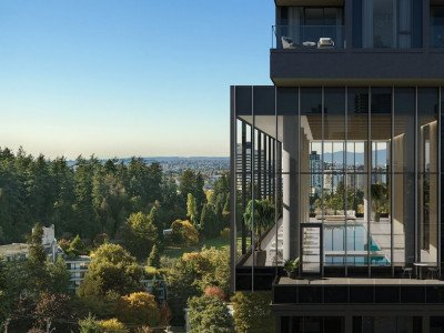 View of pool, looking towards Central Park in Burnaby