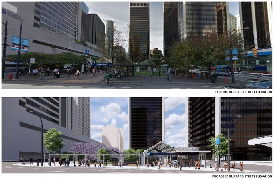 Burrard Station before and after renderings, showing Burrard Street elevation