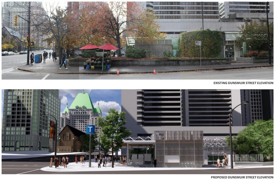 Burrard Station before and after renderings, showing Dunsmuir Street elevation