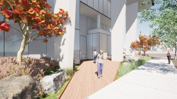 Rendering of AbCellera campus landscaping