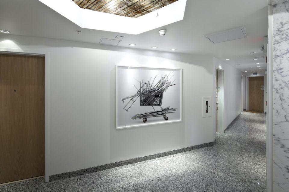 Burns Block hallway lobby and artwork