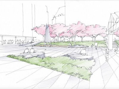 Plaza sketch view looking south