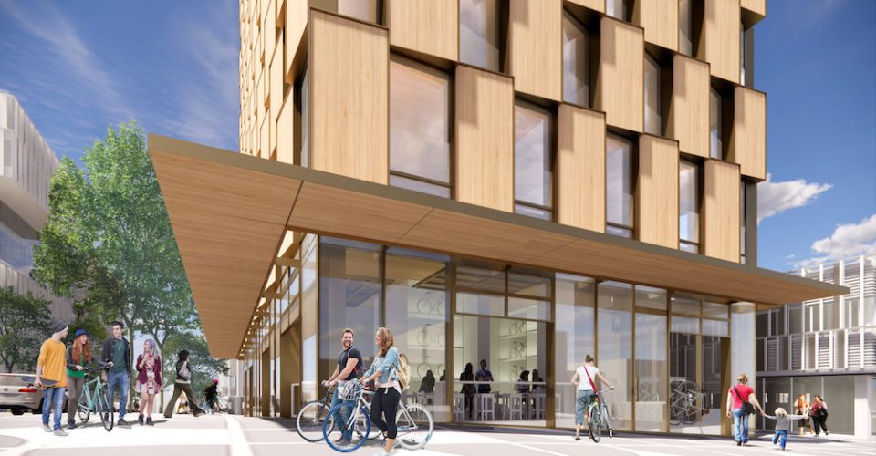 Streetscape rendering of Westbank's upcoming mass timber residential tower