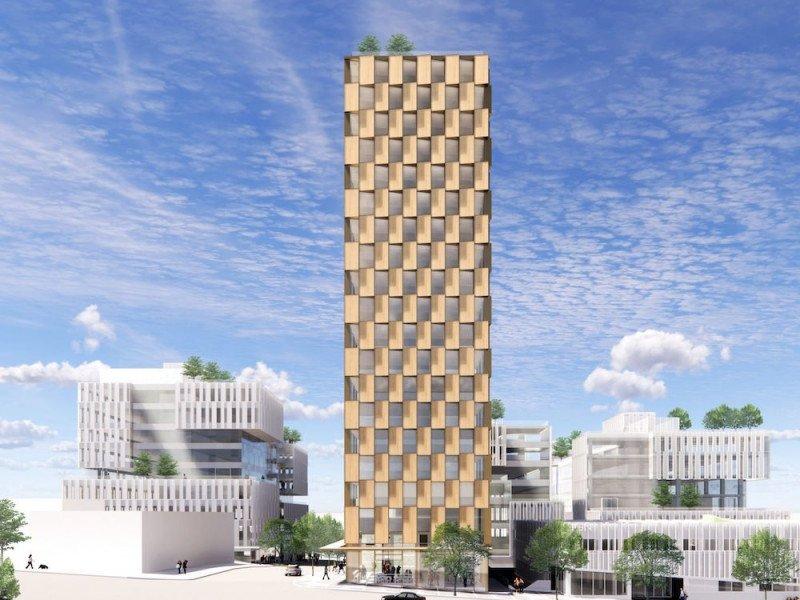 Mass timber rental apartment tower