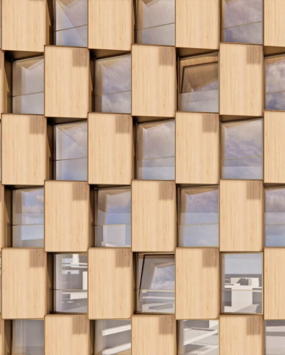 Close up rendering of Westbank's upcoming mass timber residential tower