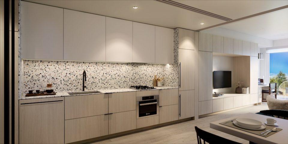 Rendering of kitchen in interior scheme one