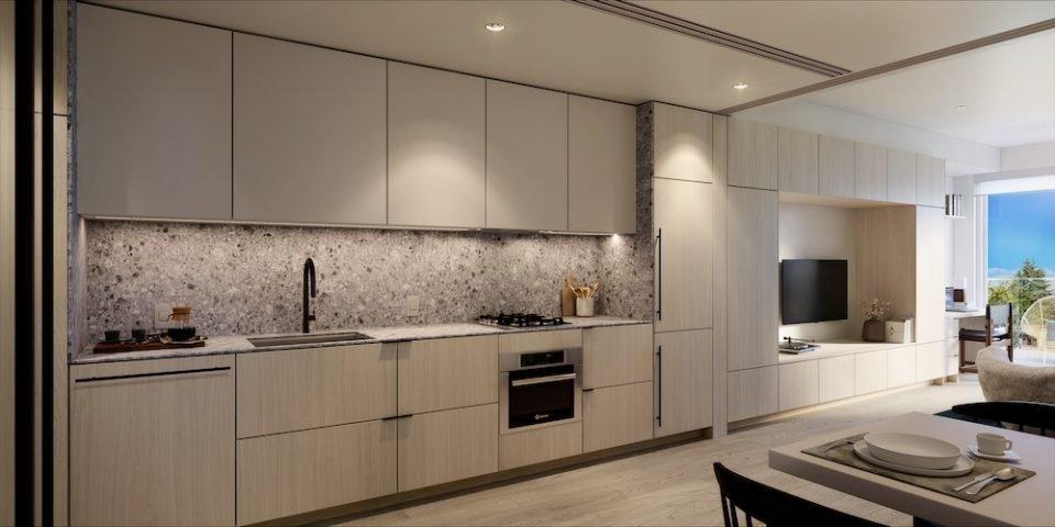 Rendering of kitchen in interior scheme two