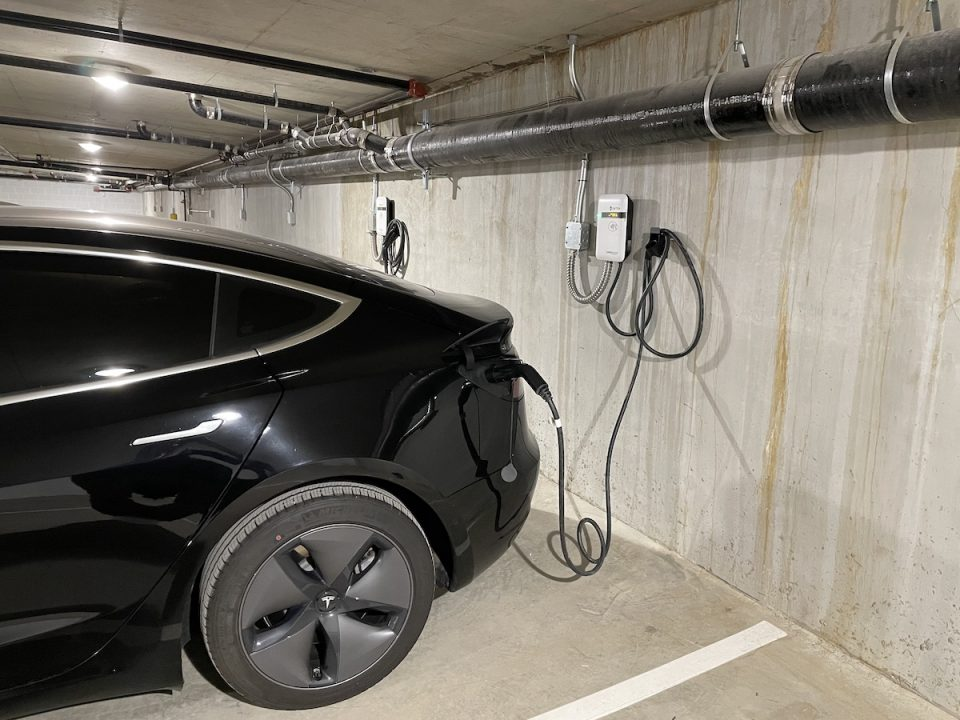 Charging station installed in a parkade