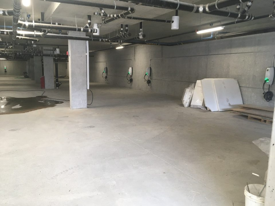 EV charging stations installation in a new-build parkade