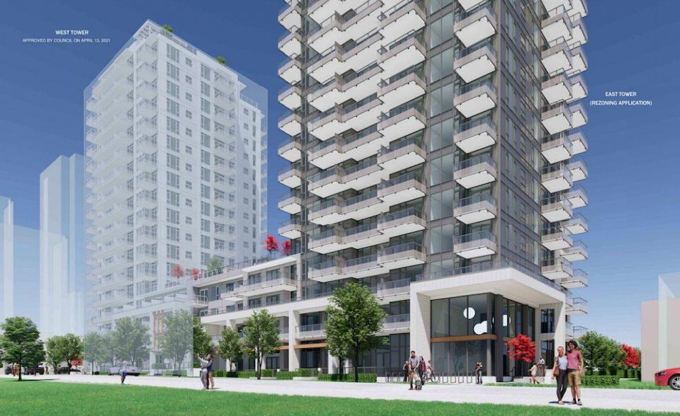 Rendering of Oakridge rental apartment tower