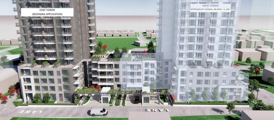 Laneway elevation of Oakridge rental project