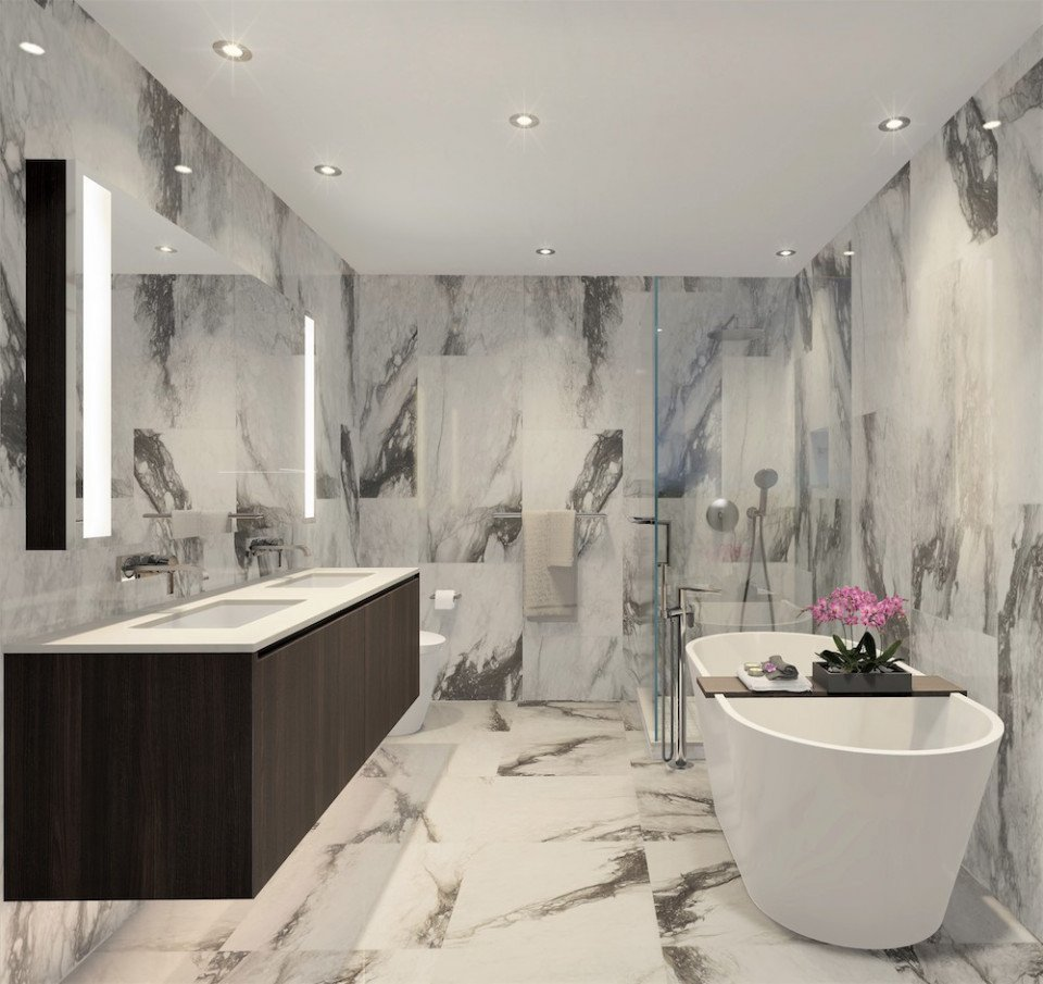 Bathroom rendering at Millennium Central Lonsdale.