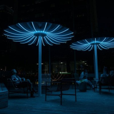 The parasols feature LED lighting
