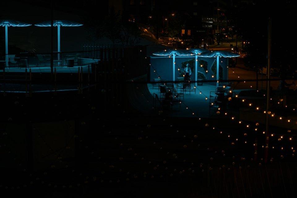 Installation and plaza at night