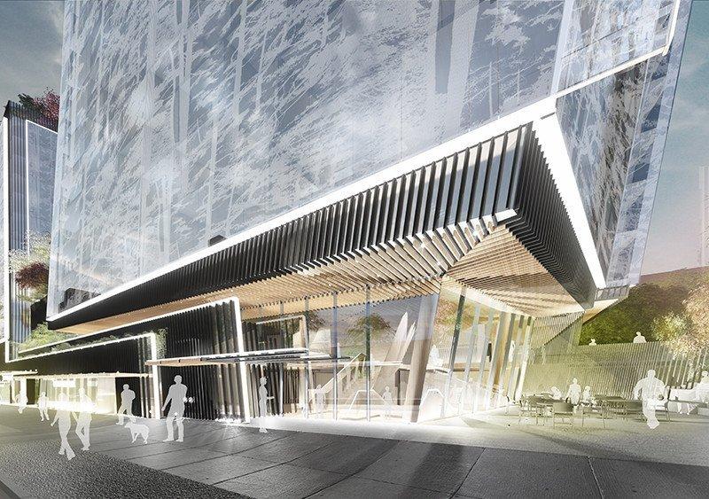 New hotel 888 West Broadway - entrance plaza