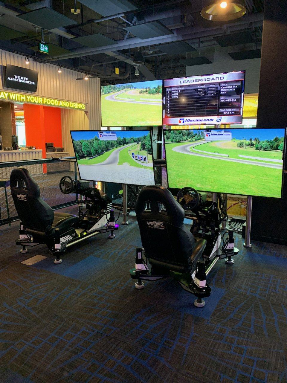 VRX motion-based car simulators at the Rec Room Burnaby.