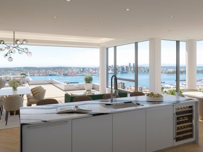 Living room rendering, looking from kitchen at Millennium Central Lonsdale