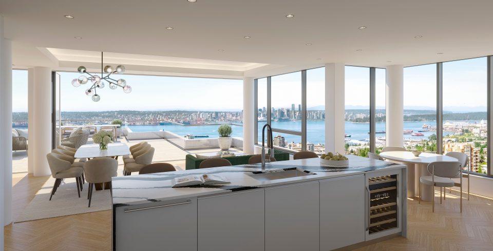 Living room rendering, looking towards downtown Vancouver.