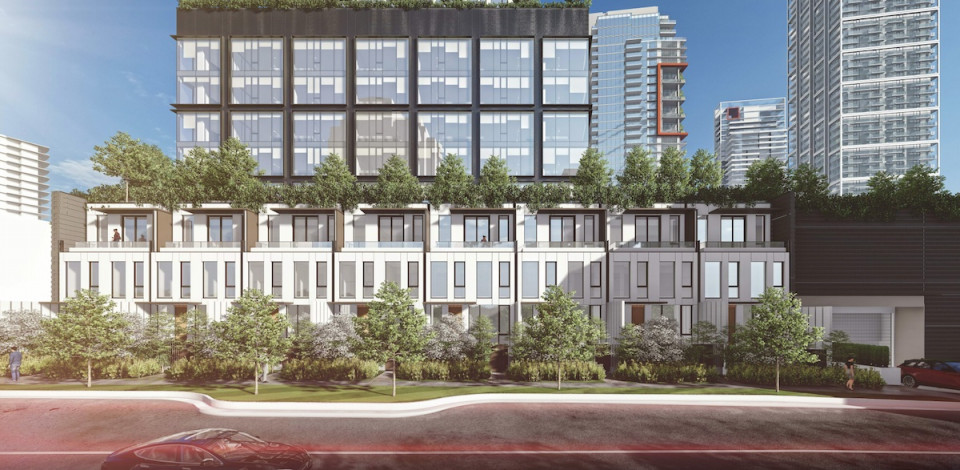 Rendering of three-level townhouses