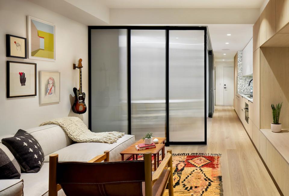Sliding doors surround the bedroom