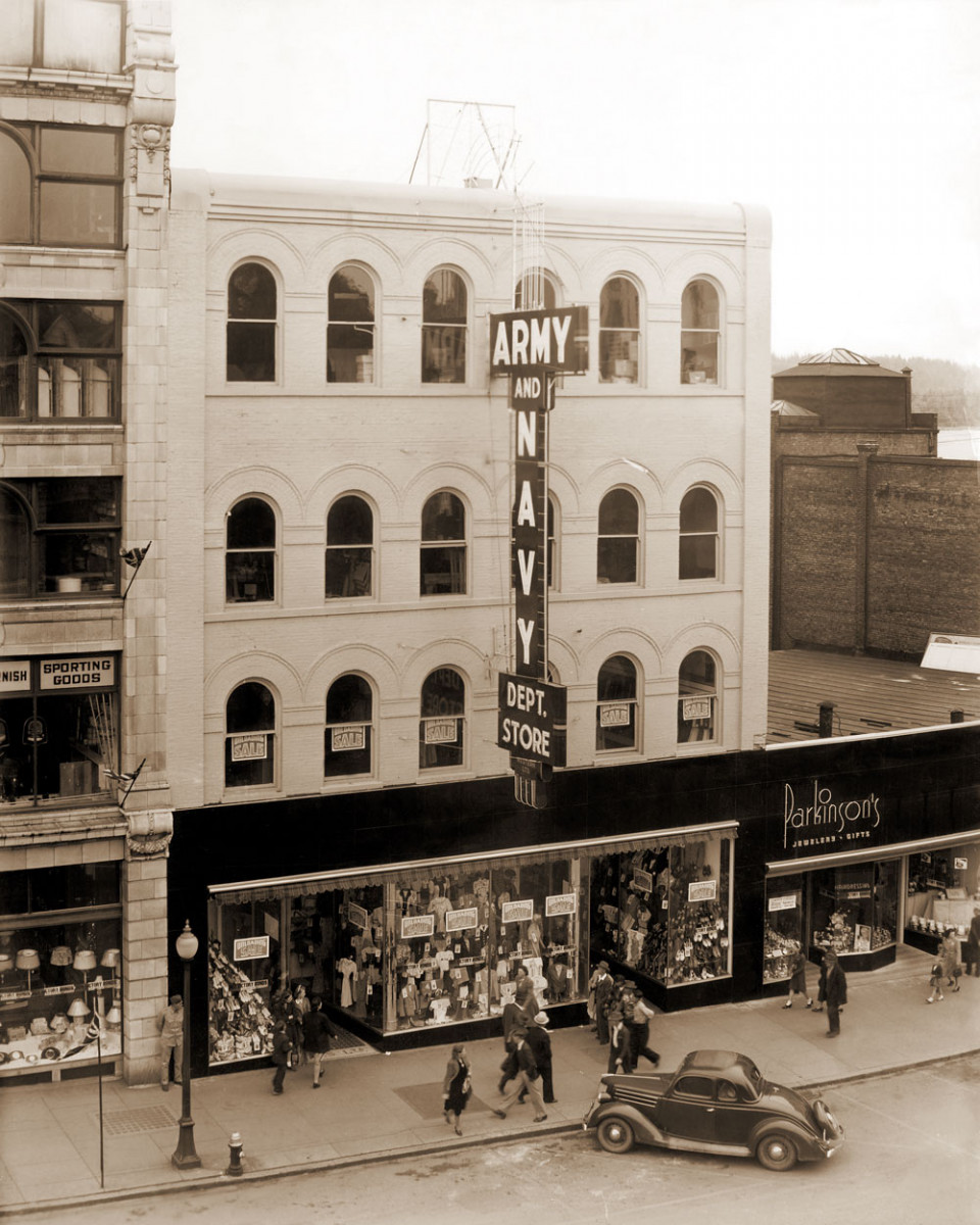 Army & Navy department store frontage on West Hastings Street, year unknown