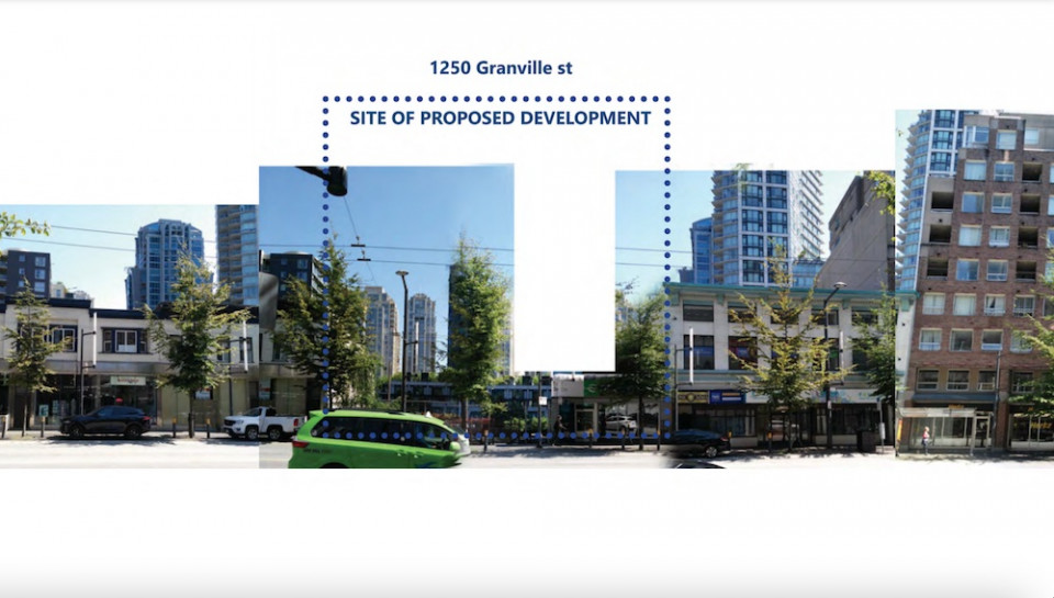 Location of prefabricated building of rental apartments at 1250 Granville Street in downtown Vancouver.
