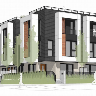 Rendering of Passive House townhouses in Cambie Corridor