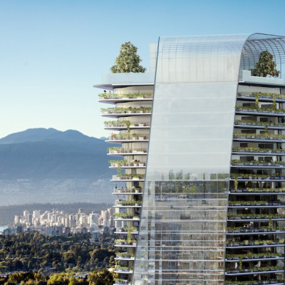 Rendering of Building Four looking towards downtown Vancouver
