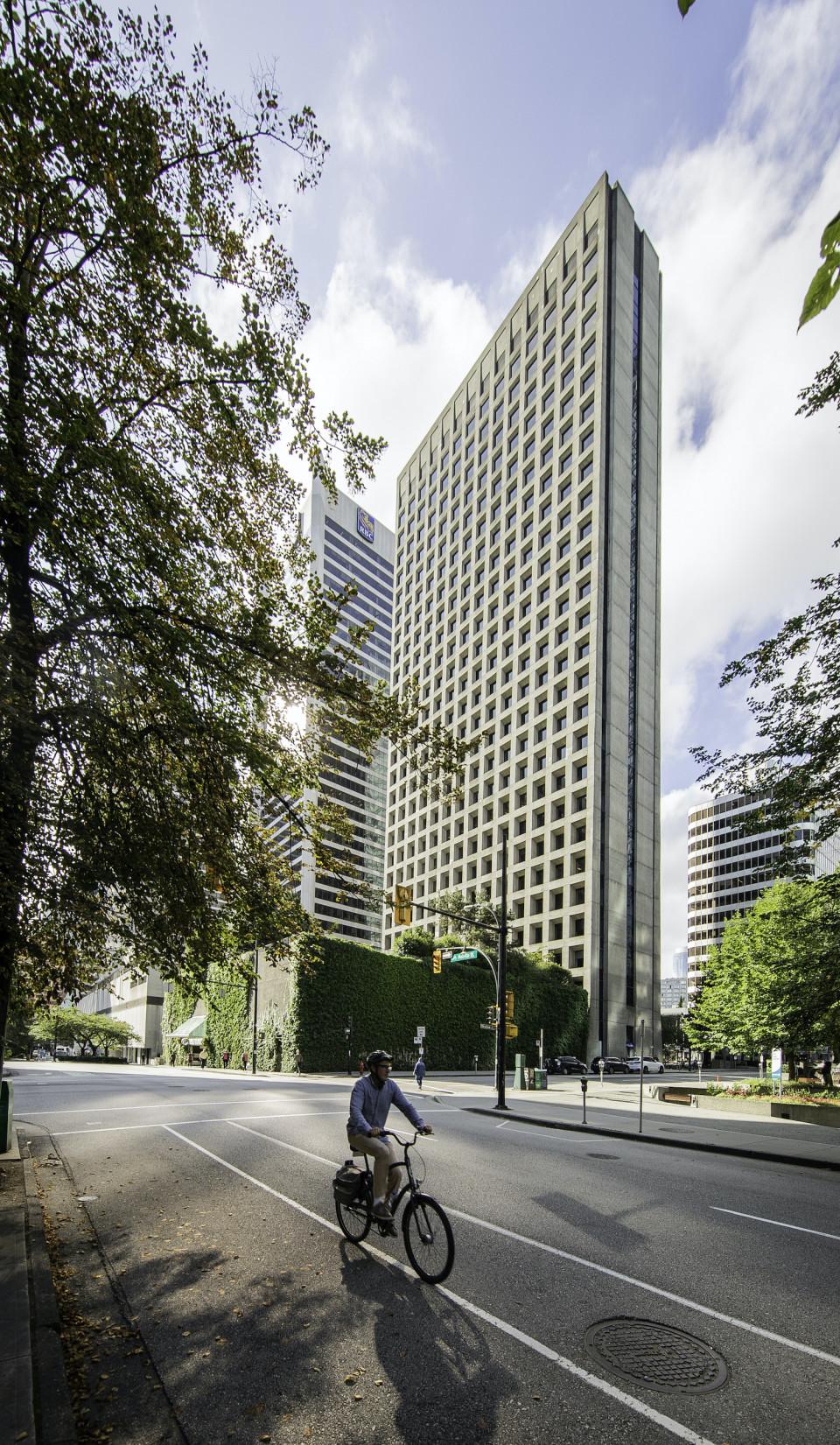Arthur Erickson Place as seen from Melville Street bike lane