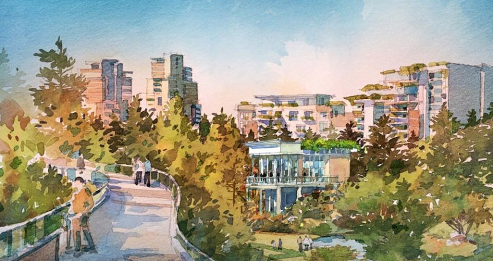 Artist's Illustration of Plazas and Walkways