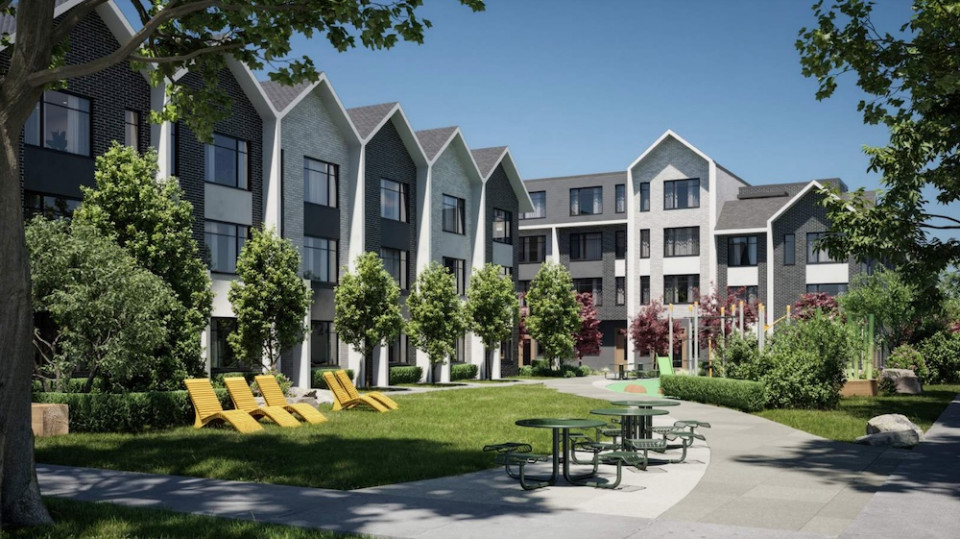 Townhouses and interior park