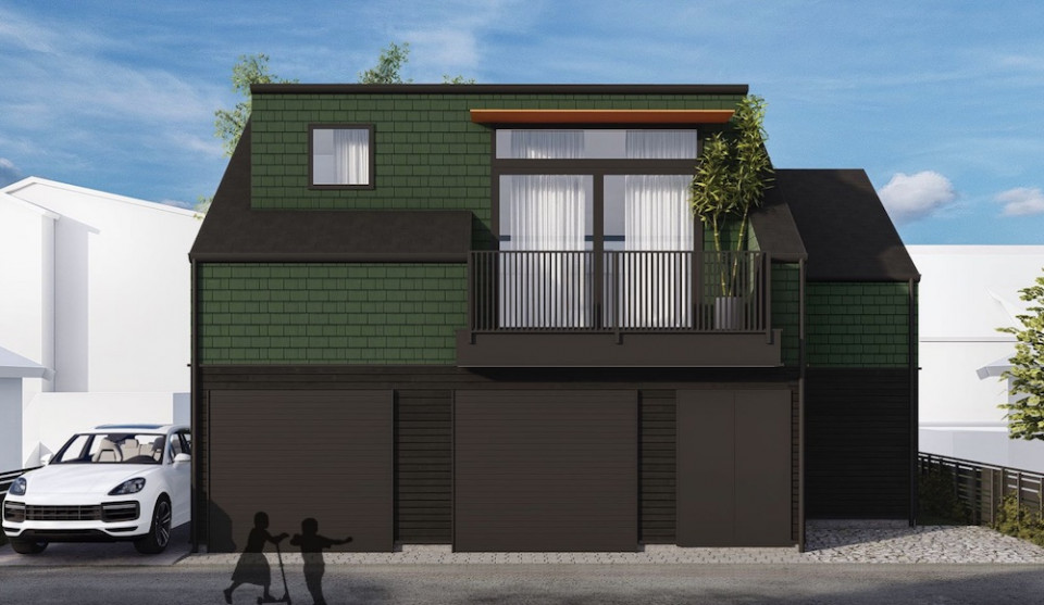 Rendering of rear façade, of proposed Mount Pleasant infill