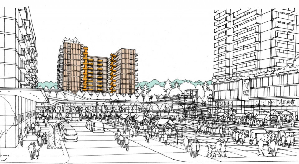 View of mass timber building from future public plaza at Moody Centre Station
