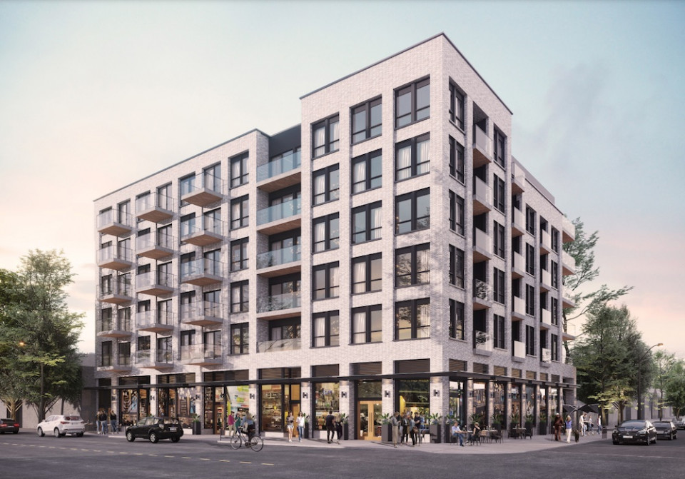 Main and 24th rentals - Main Street frontage rendering